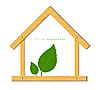 Векторный клипарт: Деревянный дом и зеленые листья