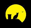 Векторный клипарт: Кошка под луной
