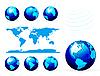 Vektor Cliparts: Globe and Detail Karte der Welt. Verschiedene Ansichten