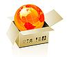 Vector clipart: Earth globe in cardboard box