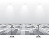 Vector clipart: Empty white room with lamp