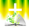 Vector clipart: open bible and cross