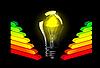 Векторный клипарт: Лампочки и рейтинг энергоэффективности