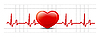 Vector clipart: heart and heartbeat symbol on reflective surface