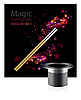 Vector clipart: Beautiful magic design with wand and hat