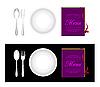 Vector clipart: Plate, fork, spoon, menu