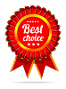 Vector clipart: Best choice red label with ribbons