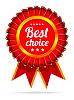 Vektor Cliparts: Beste Wahl roten Etikett mit Bändern