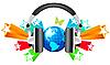 Vector clipart: Globe with headphones