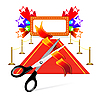 Vector clipart: Red carpet with scissors and stars