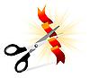 Векторный клипарт: ножницы разрезают ленту