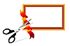 Vector clipart: Scissors cutting ribbon