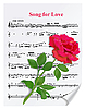 Vector clipart: Red rose on notesheet