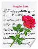 Vektor Cliparts: Rote Rose auf Notenblätter