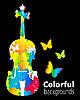 Vector clipart: cello, violoncello color background