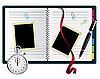 Vector clipart: Stopwatch, paperclips, notebook with bookmark