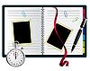Vektor Cliparts: Stoppuhr, Büroklammern, Notizbuch mit Lesezeichen