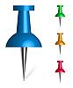 Векторный клипарт: канцелярской кнопки разноцветные коллекции