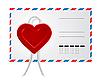 Векторный клипарт: Конверт с сердечками