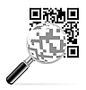 Vektor Cliparts: QR-Code mit Lupe