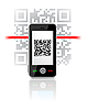 Vector clipart: Phone scaned QR code
