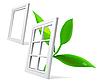 Vektor Cliparts: Fenster und Blatt