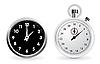 Vektor Cliparts: Uhr und Stoppuhr