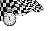 Checkered flag with stopwatch