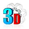 Vector clipart: 3D Cinema with film strip