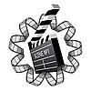 Векторный клипарт: кинохлопушка и кинопленка