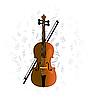 Vector clipart: cello, violoncello on music note background