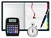 Vector clipart: note with calculator, pen and stopwatch
