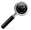 Vector clipart: Speedometer in magnifier