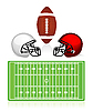 Vector clipart: american football field, ball and helmet