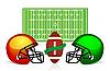 Векторный клипарт: Американский футбольное поле, мяч и шлем