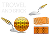 Vector clipart: trowel and bricks