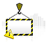 Vector clipart: crane hook with blank poster