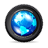 Vector clipart: Zoom the World! camera lens with Globe