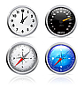 Vector clipart: Clock, speedometer and compass set
