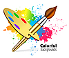 Vector clipart: brush on color background