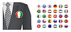 Vector clipart: Diplomat with flag badge background