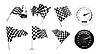 Vector clipart: Checkered Flags set