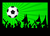 Vector clipart: Football fans crowd and the ball