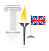 England-Flagge mit Fackel