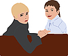 Vector clipart: Two boys sitting