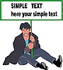 Vector clipart: man sitting on the floor with poster in hands