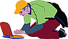 Vector clipart: guy in the yellow cap with laptop