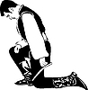 Vector clipart: man stands on his knees
