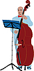 Vector clipart: musician in blue suit playing the cello