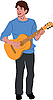 Vector clipart: guy in the blue sweater with guitar